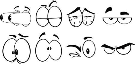Bianco e nero Cartoon Eyes 2 Collection Set Archivio Fotografico - 26076707