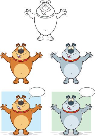 Bulldog With Open Arms Cartoon Mascot Characters  Collection Set Vector