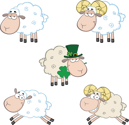 cartoon sheep: Ram and Sheep Cartoon Mascot Characters  Collection Set Illustration