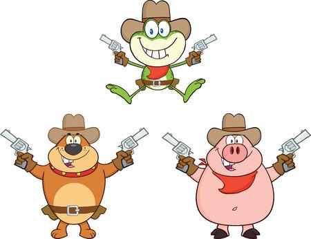 Cowboy Animals Cartoon Mascot Characters  Collection Set Vector