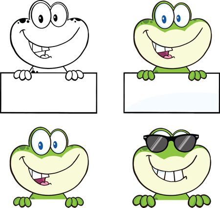 bullfrog: Frog Cartoon Mascot Character 4  Collection Set