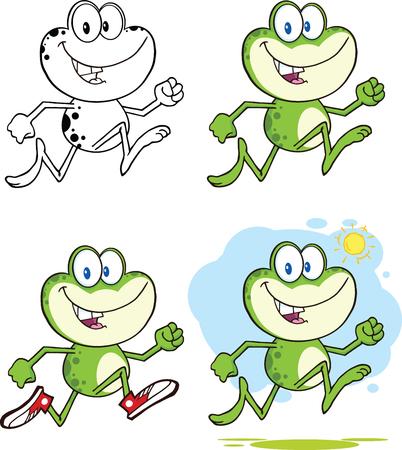 Frog Cartoon Mascot Character 9  Collection Set Vector