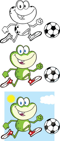 bullfrog: Frog Cartoon Mascot Character 10  Collection Set Illustration