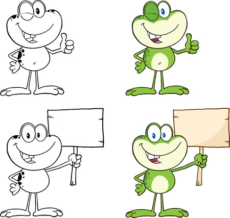 Frog Cartoon Mascot Character 12  Collection Set Vector