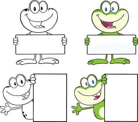 Frog Cartoon Mascot Character 13  Collection Set Vector