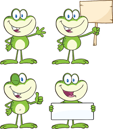 Frog Cartoon Mascot Character 15  Collection Set Vectores