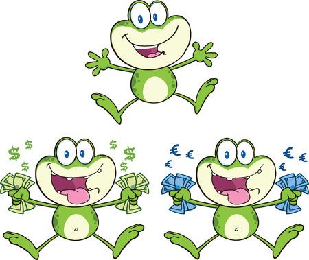 Frog Cartoon Mascot Character 16  Collection Set Vector