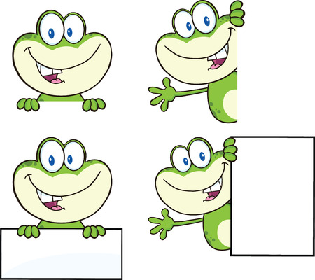 Frog Cartoon Mascot Character 18  Collection Set Vector