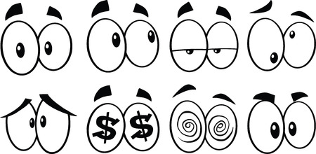 Black And White Cartoon Eyes 1  Collection Set Vector