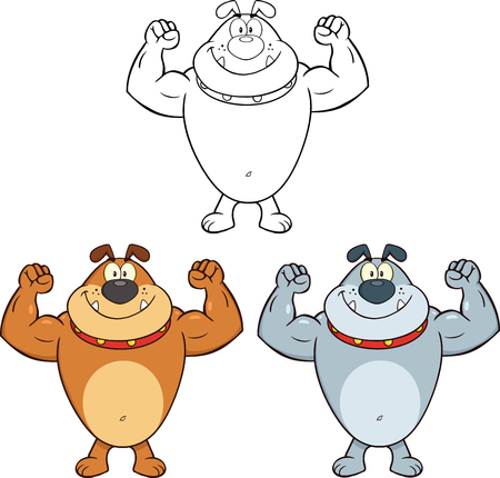 mighty: Bulldog Showing Muscular Arms Cartoon Mascot Characters  Collection Set