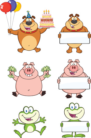 Bulldog, Pig and Frog Cartoon Mascot Characters  Collection Set Vector