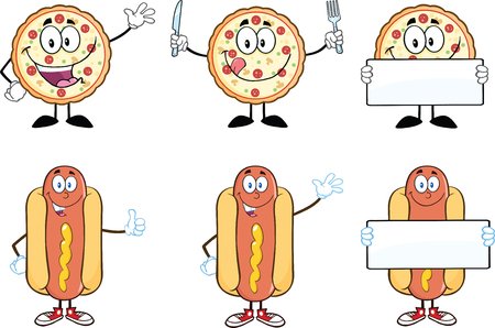 Pizza and Hot Dog Cartoon Mascot Characters  Collection Set Vector