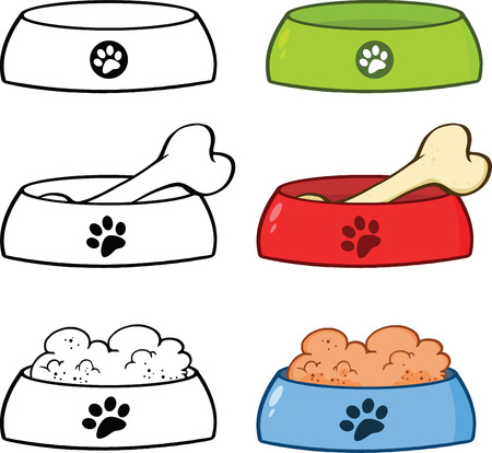 Dog Bowl Cartoon Illustrations  Set Collection Vector