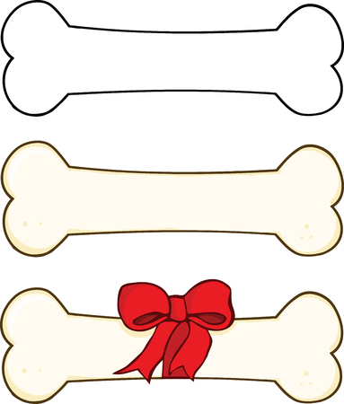 Dog Bone Cartoon Illustrations 1  Set Collection Vector