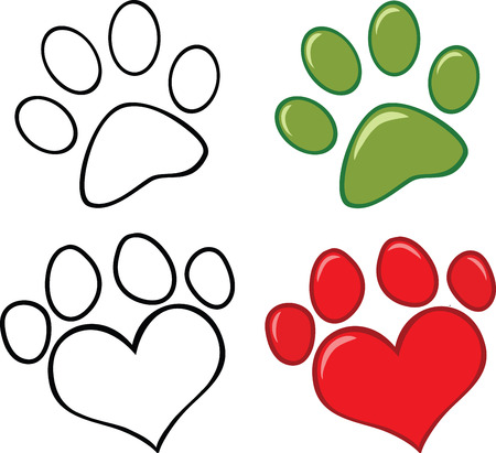 Dog Paw  Set Collection Vector