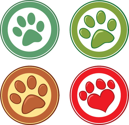 Dog Paw In Circle  Set Collection Vector
