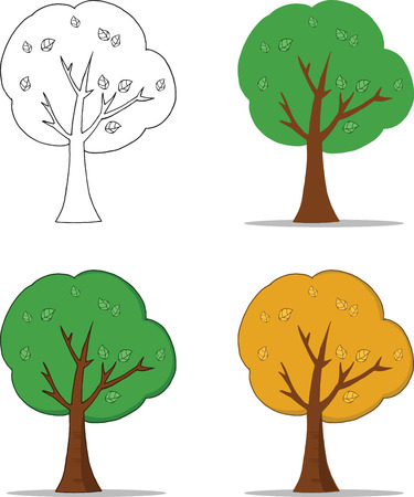 tall trees: Cartoon Tree With Shadow  Set Collection Illustration