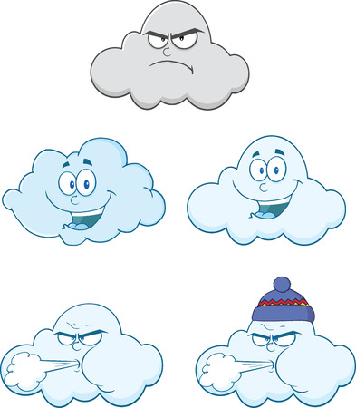gusty: Happy And Angry Clouds Cartoon Characters  Set Collection
