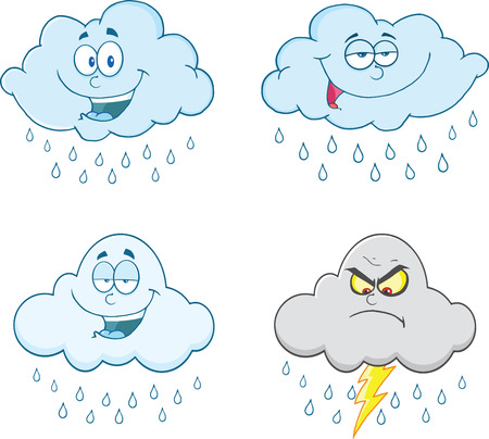 Raining Clouds Cartoon Characters  Set Collection