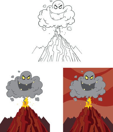 Evil Black Cloud Over Erupting Volcano  Set Collection Vector