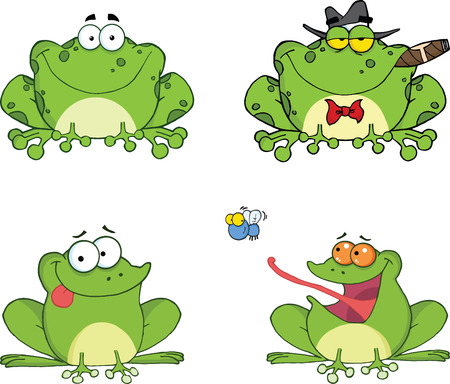 Happy Frogs Cartoon Characters 2  Set Collection Vector