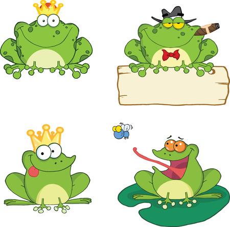 幸せなカエルの漫画のキャラクターの 1 セットのコレクション