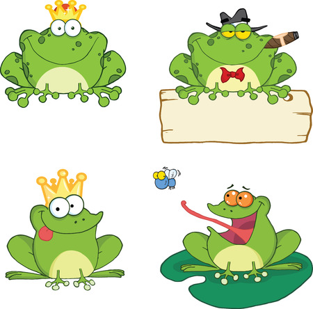Happy Frogs Cartoon Characters 1  Set Collection Vector