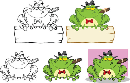 cigars: Mobster Frog Over A Sign Cartoon Character  Set Collection