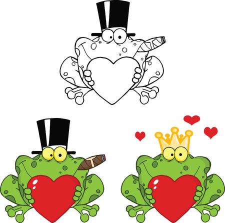 smiling frog: Colecci�n Rana sonriente sosteniendo un coraz�n Personajes de dibujos animados Set