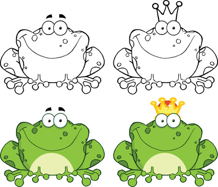 bullfrog: Happy Frog Sitting Cartoon Character  Set Collection
