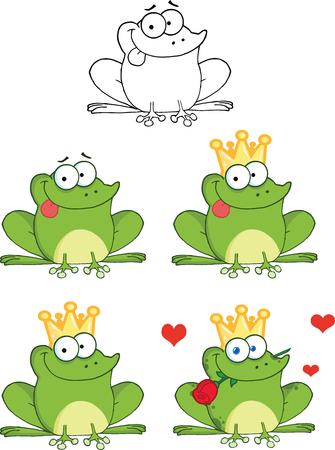 rana caricatura: Rana feliz con la lengua fuera Personajes de dibujos animados conjunto de recopilación