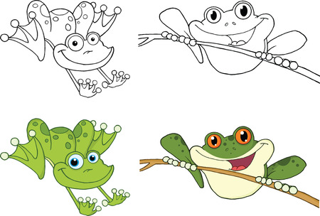 Happy Jumping Frogs Cartoon Characters  Set Collection Vector
