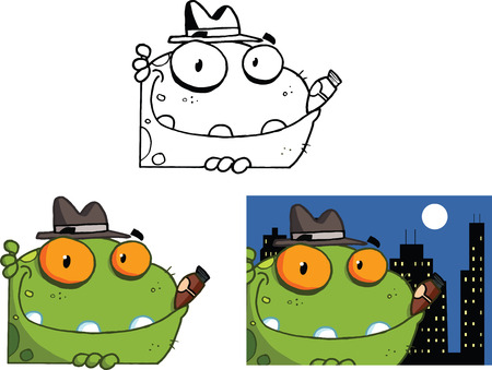 Mobster Frog Cartoon Character  Set  Collection Vector