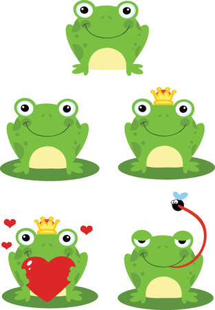 Happy Frog Sitting On A Leaf Cartoon Characters  Set Collection Vector