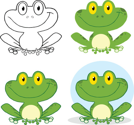 bullfrog: Small Smiling Frog Cartoon Character  Set Collection