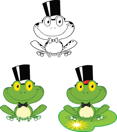 croaking: Smiling Groom Frog Cartoon Character  Set Collection Illustration