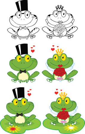 croaking: Happy Groom and Bride Frog Cartoon Characters  Set Collection Illustration