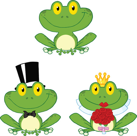 croaking: Happy Small Frogs Cartoon Characters  Set Collection Illustration