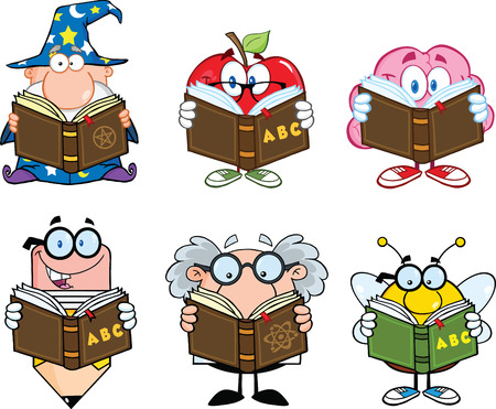 Different Mascots Reading A Book Cartoon Characters  Set Collection Vector