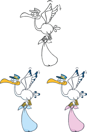 Stork Carrying A Bundle Cartoon Character  Set Collection Vector