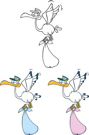 Stork Carrying A Bundle Cartoon Character  Set Collection Ilustração