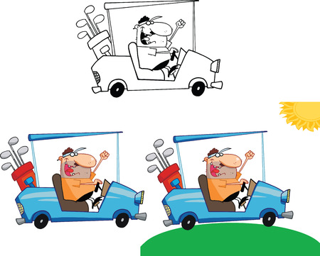 Happy Golfer in Golf Cart  Set Collection Vector