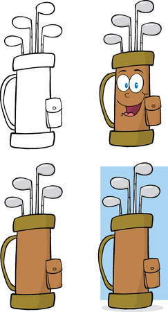Golf Bag Full Of Clubs  Set Collection Vector