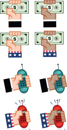 Business Hands Holding Cellphone And Dollar Bill  Set Collection Vector