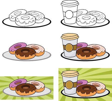 sweetened: Cartoon Donuts And Coffe On Plate  Set Collection Illustration