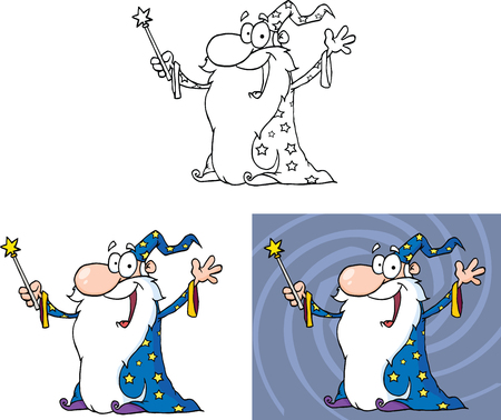Smiling Old Wizard Cartoon Character  Set Collection Vector