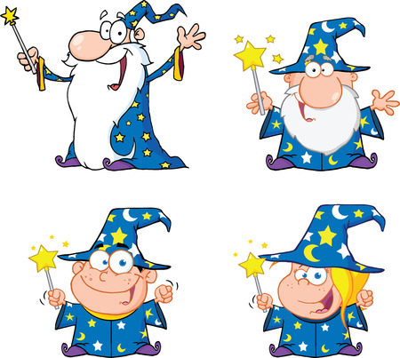 Happy Wizards Cartoon Characters  Set Collection Vector