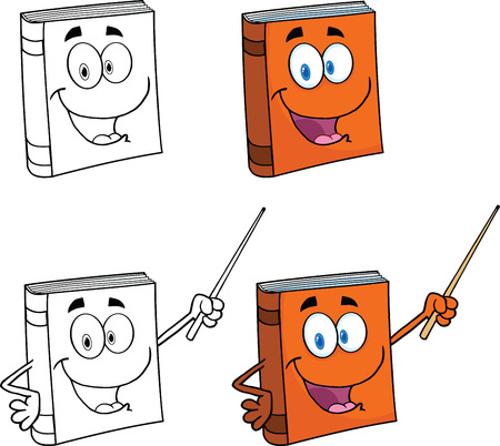 Happy Book Cartoon Characters 1  Set Collection Vector