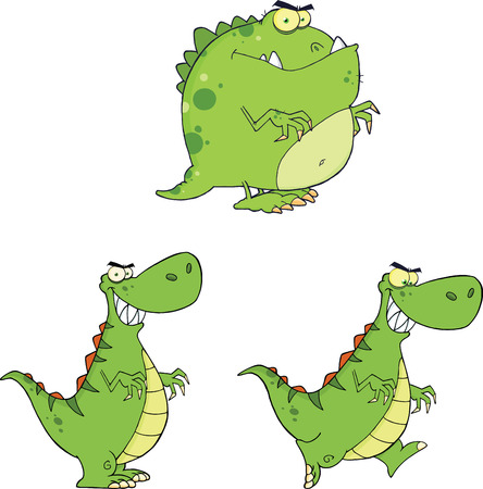 Angry Dinosaurs Cartoon Characters  Set Collection Vector