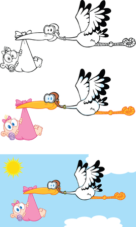 Stork Carrying A Baby Girl Cartoon Characters  Set Collection Illustration